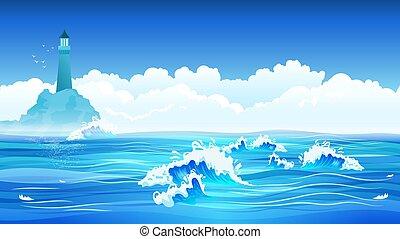 mar, plano, plano de fondo