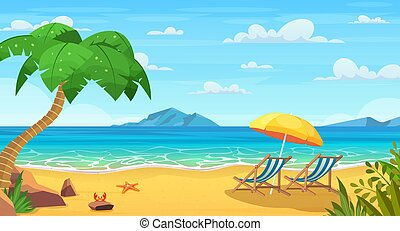 mar, playa, sol, loungers.