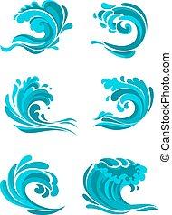 Mar rizado y olas azules del océano