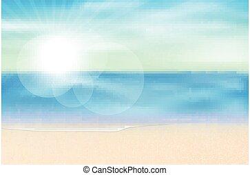mar, verano, vista, estación, vector, plano de fondo