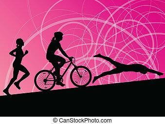 Maratón de triatlón mujeres jóvenes activas nadando en bicicleta y corriendo siluetas deportivas cobrando vector de ilustración abstracta de fondo