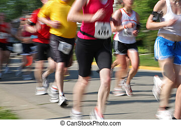 maratón, ser, movimiento, cámara, números, tener, chang, corredores, (in, blur)
