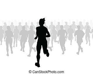 maratón, vector, corredores, plano de fondo