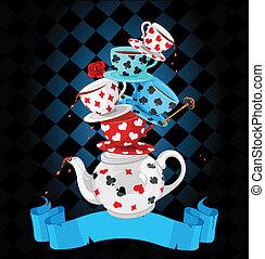 maravilla, té, pirámide, diseño, fiesta