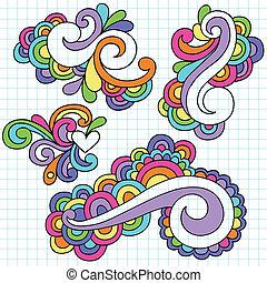 maravilloso, doodles, resumen, conjunto, remolinos