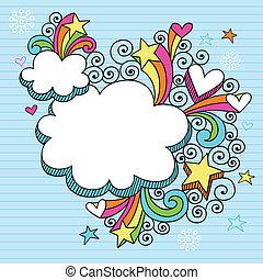 maravilloso, marco, psicodélico, nube