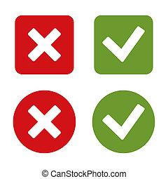 marca, cheque, buttons., pegatinas, rojo, green.