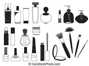 marca, cosmético, colección, arriba, productos, blanco, .vector