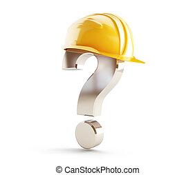 Marca de interrogación del casco de construcción