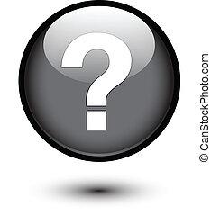 Marca de preguntas blancas en negro