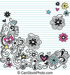 Marca Sketchy flor doodle vector