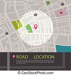 marcador, app, gps, tema, ubicación