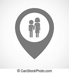 Marcador de mapa aislado con un pictograma de la infancia