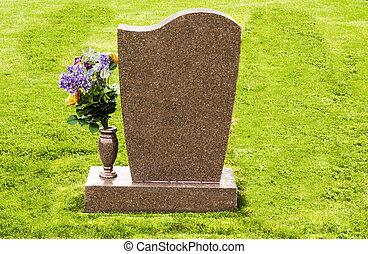 marcador, flores, tumba
