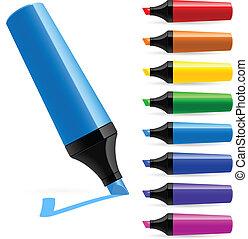 Marcadores multicolores realistas