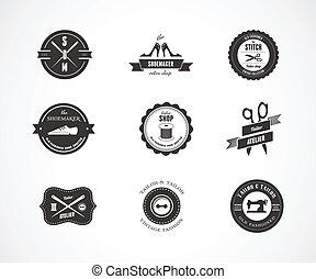 Marcas de costura antiguas, elementos y placas