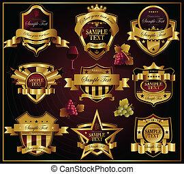Marcas de oro del vector: vino y alco
