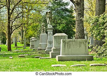 Marcas de tumbas Memorial en el cementerio de primavera en Cincinnati ohio USA. Spring Grove es el segundo cementerio más grande de los Estados Unidos y se estableció en 1845.