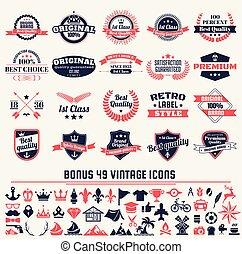 Marcas de vector retro antigua para la bandera