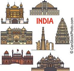 Marcas de viajes de icono de arquitectura india