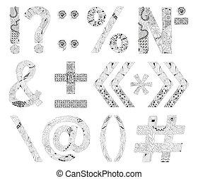 marcas, excepcional, alfabeto, garabato, estilo, fondo blanco, puntuación