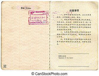 marcas, visa, república, pasaporte, pueblos, china., páginas