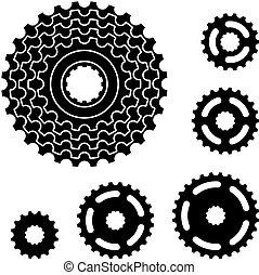 marcha de bicicleta, diente de rueda de cadena, rueda dentada, símbolos, vector