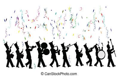 marchar, celebración, banda