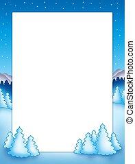 marco, árboles de navidad, nevoso