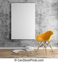 marco, blanco, 3d