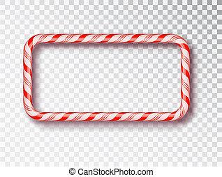 Marco de caramelos de Navidad aislado. Diseño de Navidad en blanco y negro, un marco de cuerda de color rojo y blanco. Año nuevo 2019. Diseño de vacaciones, decoración. Ilustración de vectores
