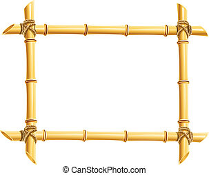 marco de madera, bambú, palos