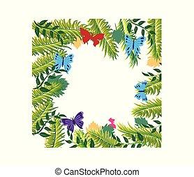 marco, floral, leafs, mariposas, palma, ornamento, plano de fondo, frontera