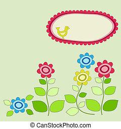 marco, flowers., jardín, pájaro