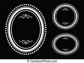 marco oval, vector, conjunto, punto