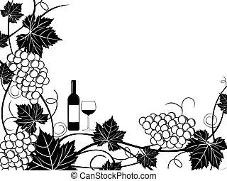 marco, uvas, ilustración