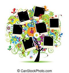 marcos, árbol, album., su, floral, familia , photos.