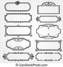 marcos, conjunto, florido, vector