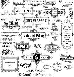marcos, conjunto, vendimia, ornamentos
