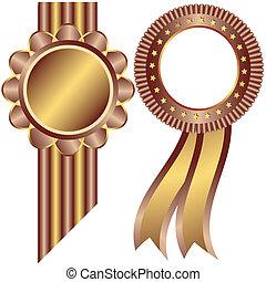 Marcos decorativos de oro y café (vector)