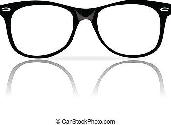 marcos, negro, anteojos