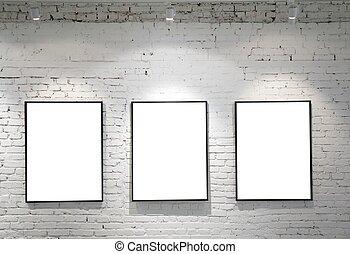 marcos, pared, ladrillo, tres