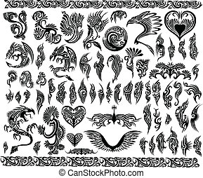 marcos, tatuaje, conjunto, frontera, dragones