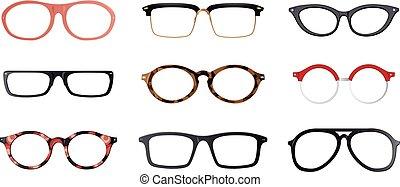 marcos, vector, conjunto, anteojos
