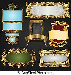 marcos, vendimia, etiquetas, retro, oro