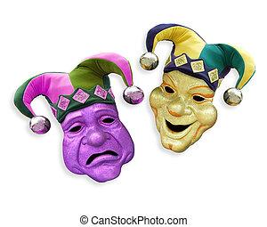 mardi, máscaras, tragedia, comedia, gras