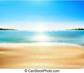 Marescape vector con playa, arena, mar