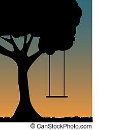 margen de crédito de árbol, silueta, anochecer