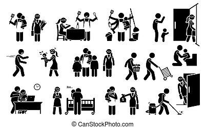 marido de la casa, palo, trabajando, esposa, icons., pictogram, familia , figura, niños, estilo de vida