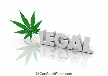 Marihuana medicinal jurídica, uso recreativo, palabra ilustración 3D
